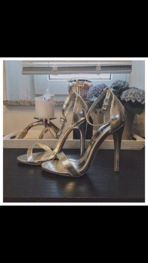 Silberne Sandal Heels in Größe 36