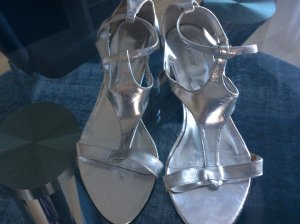 High-Heeled Sandals silver-colored synthetic fibre