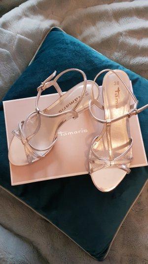 Silberne Sandaletten, Gr. 38, Tamaris