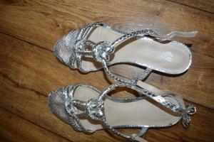 H&M Sandalias de tacón de tiras color plata