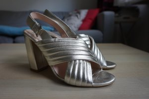 Office High Heel Sandal silver-colored leather