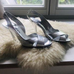 Silberne Slingpumps / Peep Toe