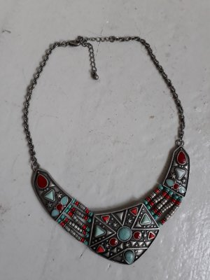 Silberne Statement Kette - Folk - Boho - Indian Style mit Türkisen