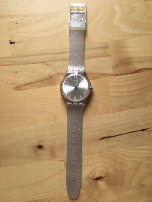 Silberne, transparente Glitzer Swatch