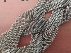 Mango Touch Braided Belt silver-colored