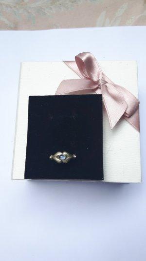 Silberner Kuss Mondstein Ring Größe 52