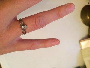 Silberner Ring Herz mit Strassstein verstellbare Größe