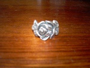 silberner Ring mit Rose shabby vintage Blogger