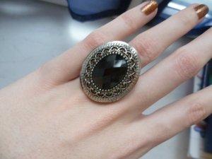Silberner Ring mit schwarzem Stein, Glitzer, Blogger, Hipster