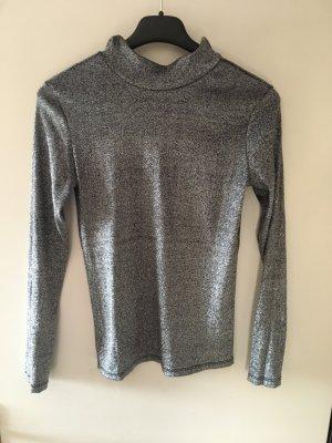 Silberner Turtleneck Pullover mit langen Ärmeln