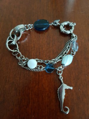 Armband zilver-blauw