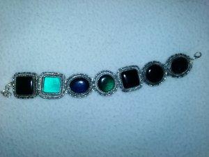 Silbernes Armband mit blauen, grünen, Türkisen Steinen