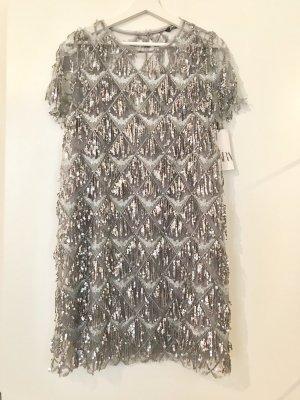 Silbernes Glitzer Kleid mit Paietten, Gr.L NEU