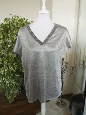 Promod V-Neck Shirt silver-colored-grey
