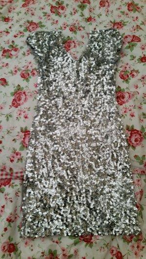 Robe à paillettes argenté-gris clair