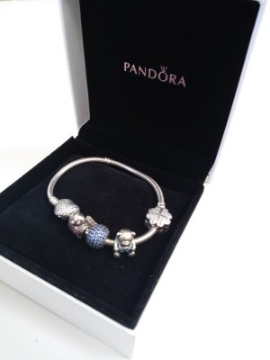 Pandora Charm Bracelet red-blue real silver