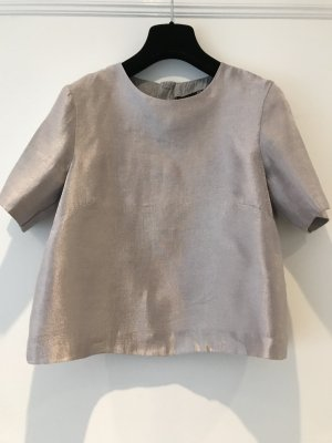 H&M Cropped Top light grey-silver-colored mixture fibre