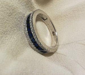 Anillo de plata blanco-azul oscuro