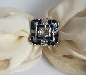 Silver Ring silver-colored-dark blue