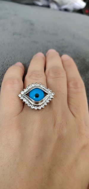 Ring silver-colored-blue