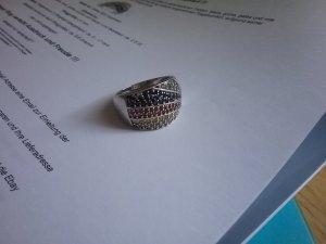 Zilveren ring veelkleurig