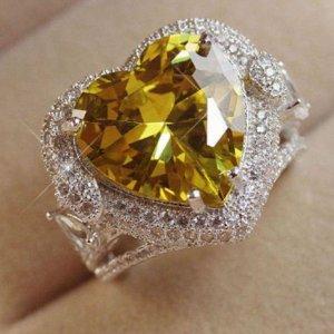 Silberring mit gelben Zirkonia Hertz