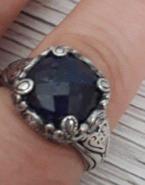 Anello d'argento blu scuro-argento Argento