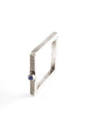Anello d'argento argento-nero stile casual