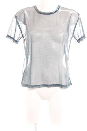 Silence + Noise Camiseta color plata-azul neón moteado look efecto mojado