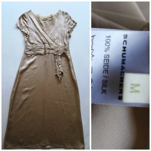 Silk cocktail dress in champagne
