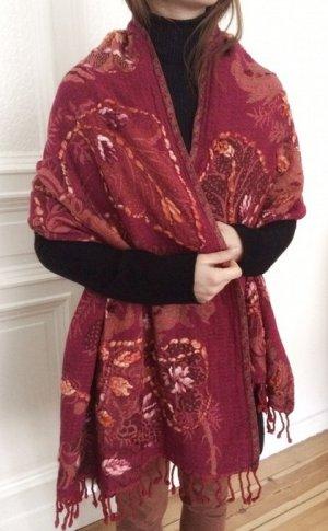 Silk Route Luxus Cape XXL Schal Tuch 100% Wolle rot orange gelb Italy NEU