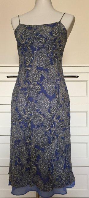 Ann Taylor Robe à bretelles bleu-bleu fluo soie