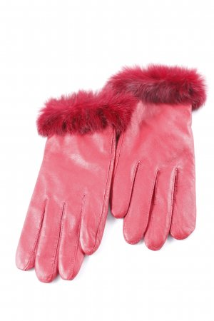 Silkroad Leather Gloves dark red-carmine casual look