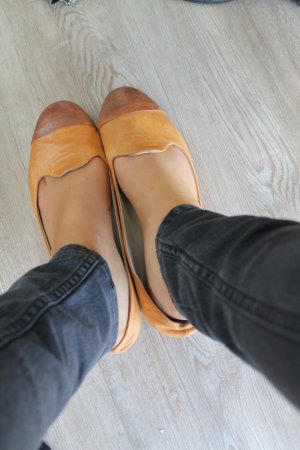 Ballerinas camel-sand brown leather