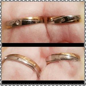 Silver 925 Couple Ring mit Kleine Stein