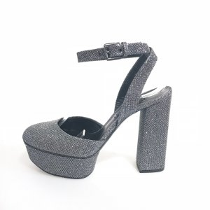 Casadei Platform High-Heeled Sandal silver-colored