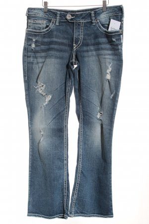 Silver Straight-Leg Jeans blau Destroy-Optik