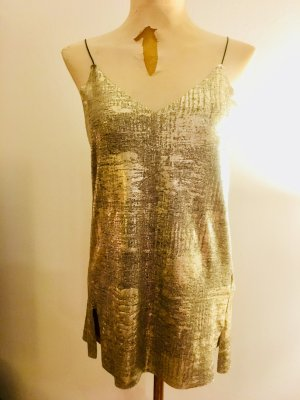 Silvester-Outfit // Spaghettiträger-Top bzw. -minikleid von Sfera (Größe S) in Silber/Gold/Schwarz