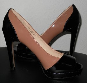 Silvester Party Lack High Heels Peeptoes schwarz nude Gr. 39 gothic Rockabilly
