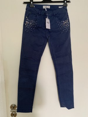 Silvian heach Pantalon cigarette bleu acier-gris clair
