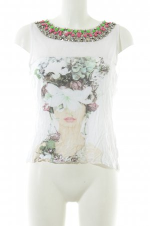 Silvian heach Cut Out Top placed print extravagant style