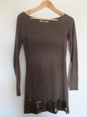 Silvian Heach langärmeliges Kleid, Gr. 36, khaki mit Pajetten, knielang, selten getragen
