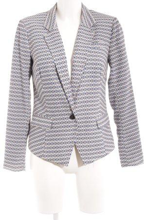 Silvian heach Long-Blazer weiß-stahlblau grafisches Muster Elegant