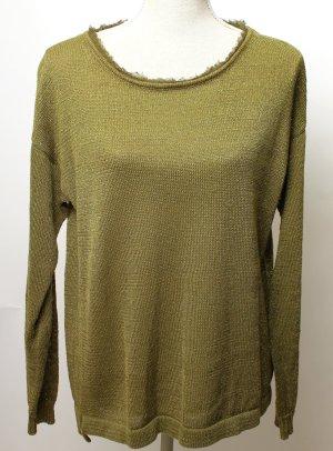 Silvian Heach Pullover M 38 grün oliv khaki gold metallic