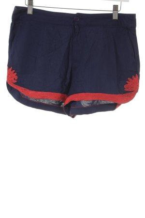 Silvian heach Shorts rot-dunkelblau abstraktes Muster Casual-Look