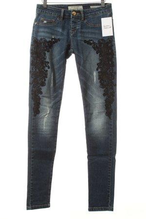 Silvian heach Skinny Jeans dunkelblau Destroy-Optik