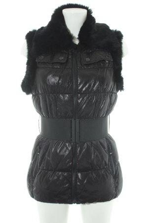 Silvian heach Gewatteerd vest zwart quilten patroon casual uitstraling