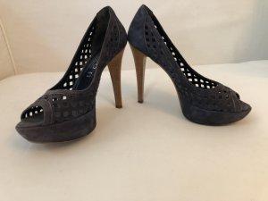 Simo High Heels, blau, Wildleder, Gr 38