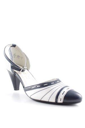 simona fashion Riemchenpumps schwarz-wollweiß Streifenmuster klassischer Stil