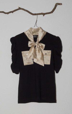 Simple Top Shirt Bluse Vintage gold Schleife aus Seide 36 S